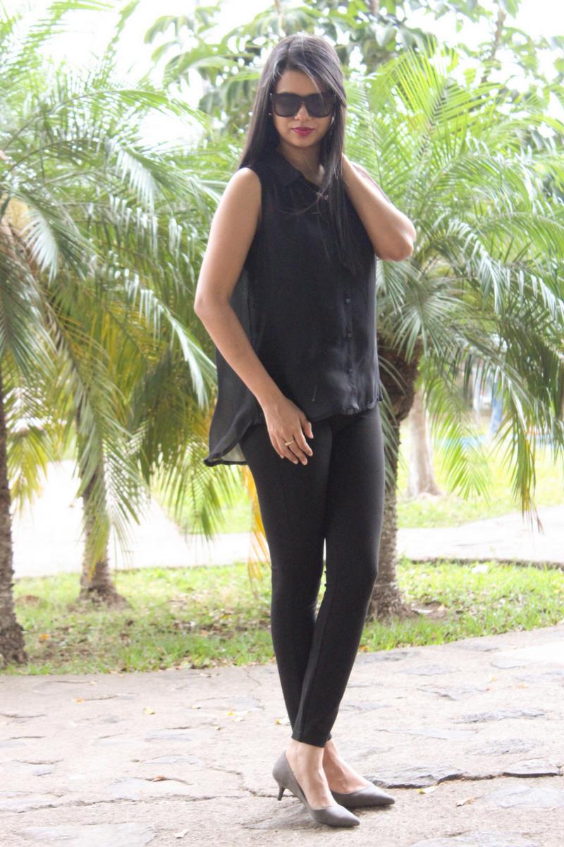 Luce hermosa y radiante con un look total black este verano