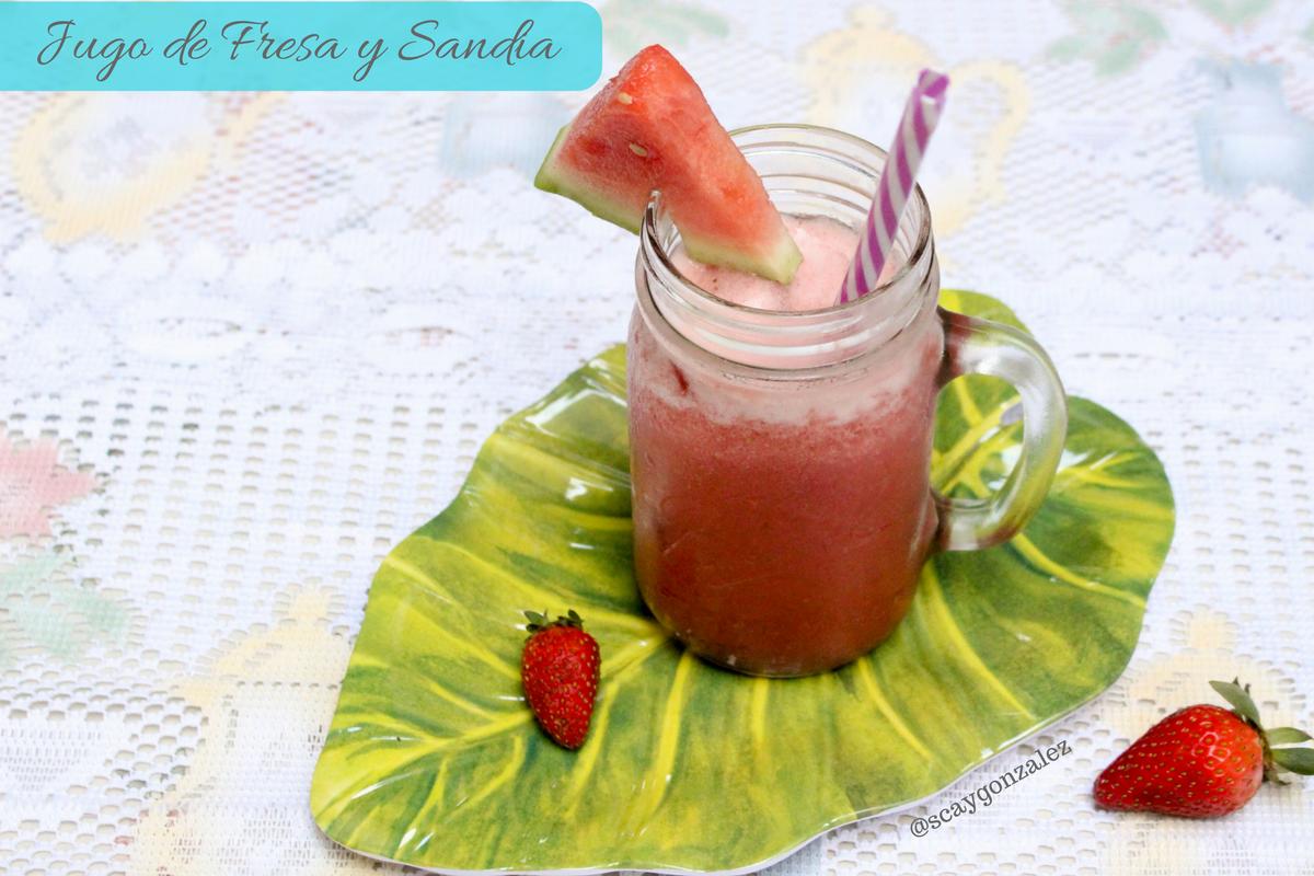 jugo de fresa y sandia natural hidratante