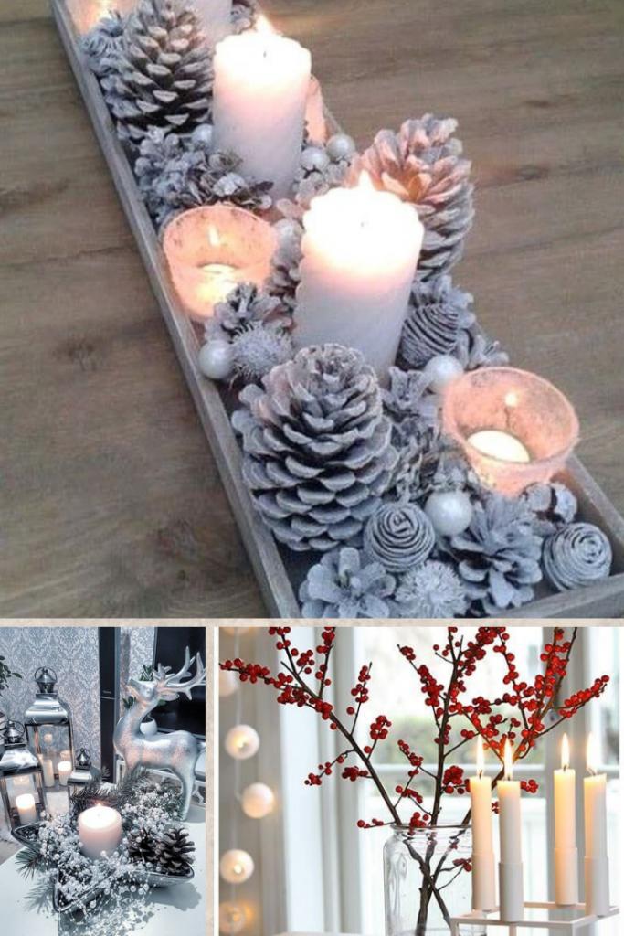 decoración navideña con velas aromáticas