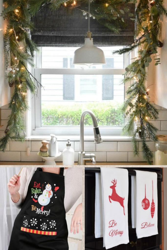 decoración navideña con toallas de cocina